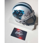 Christian McCaffrey signed Carolina Panthers Mini Helmet Leaf COA