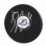 Brayden Point signed logo hockey puck w/COA
