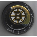 Boston Bruins Fern Flaman signed Hockey Puck COA