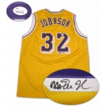 Magic Johnson signed Lakers basketball jersey with JSA hologram