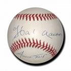 HANK AARON WILLIE MAYS dual signed Official National League Baseball JSA Authenticated